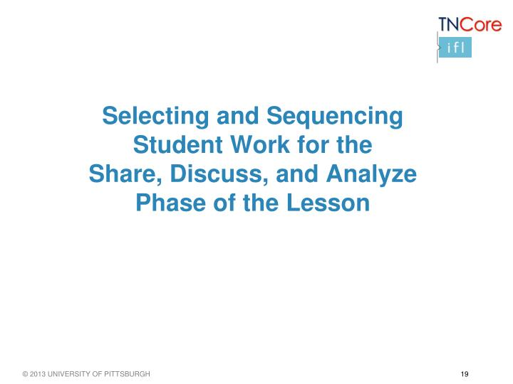 Selecting and Sequencing Student Work for the