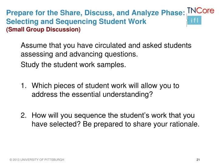 Prepare for the Share, Discuss, and Analyze Phase: Selecting and Sequencing Student Work
