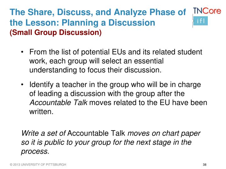 The Share, Discuss, and Analyze Phase of the Lesson: Planning a Discussion
