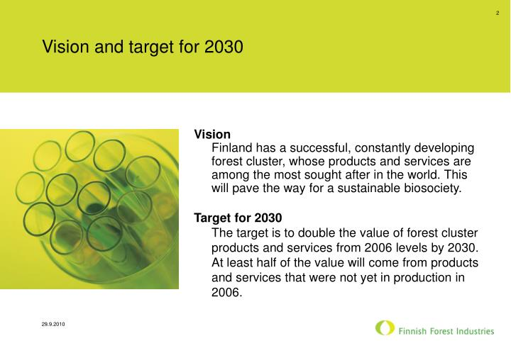 Vision and target for 2030