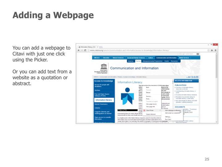 Adding a Webpage