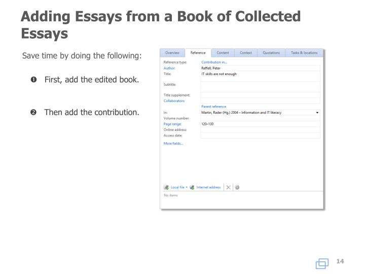 Adding Essays from a Book of Collected Essays