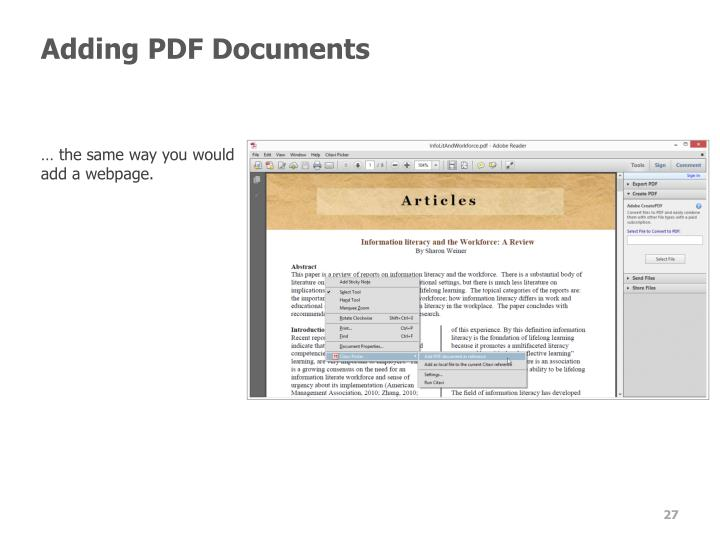 Adding PDF Documents
