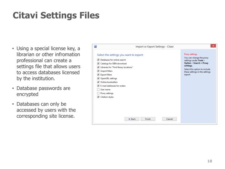 Citavi Settings Files