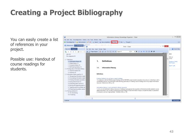 Creating a Project Bibliography