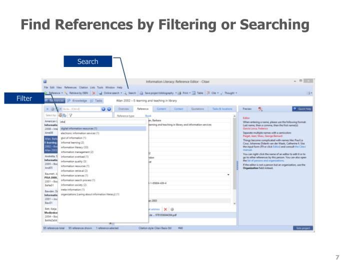 Find References by Filtering or Searching