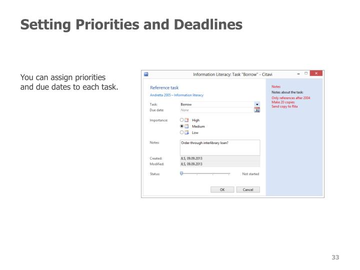 Setting Priorities and Deadlines