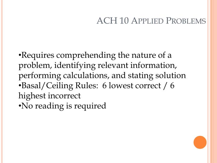 ACH 10 Applied Problems