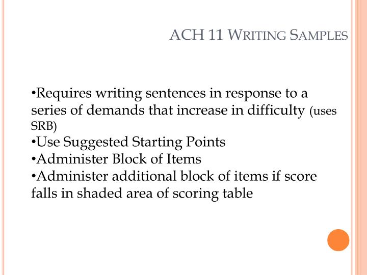 ACH 11 Writing Samples