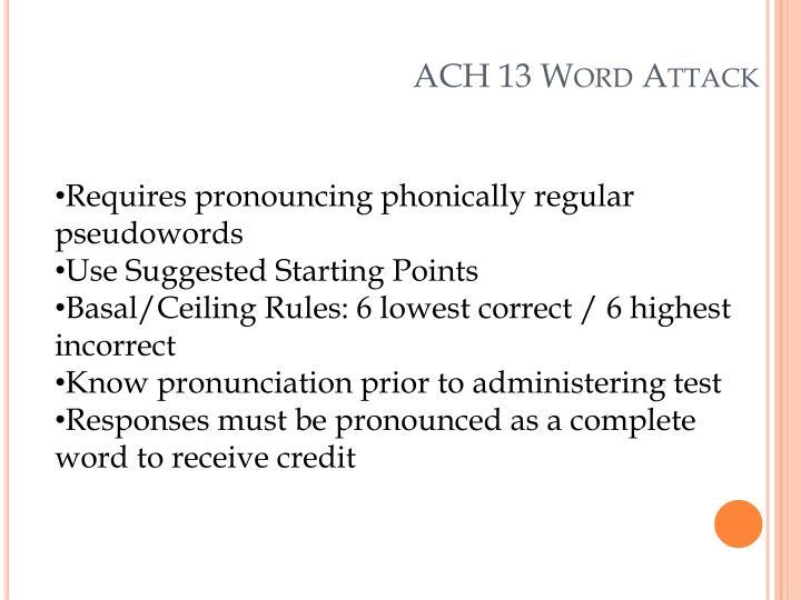 ACH 13 Word Attack