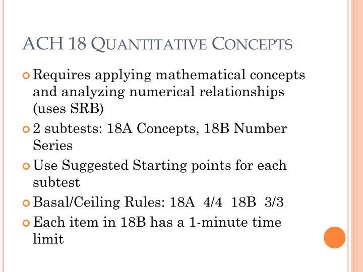 ACH 18 Quantitative Concepts