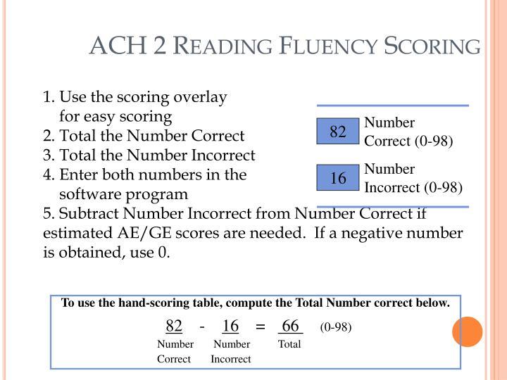 ACH 2 Reading Fluency Scoring