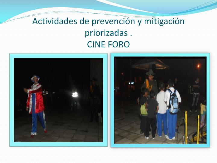 Actividades de prevención y mitigación priorizadas .