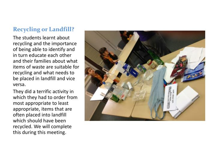 Recycling or landfill