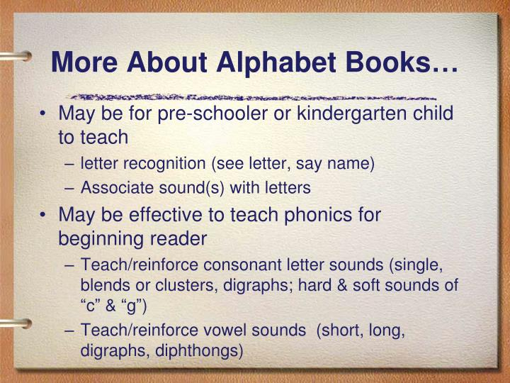 More About Alphabet Books…