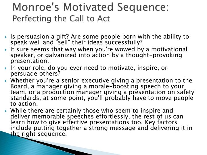 Monroe s motivated sequence perfecting the call to act