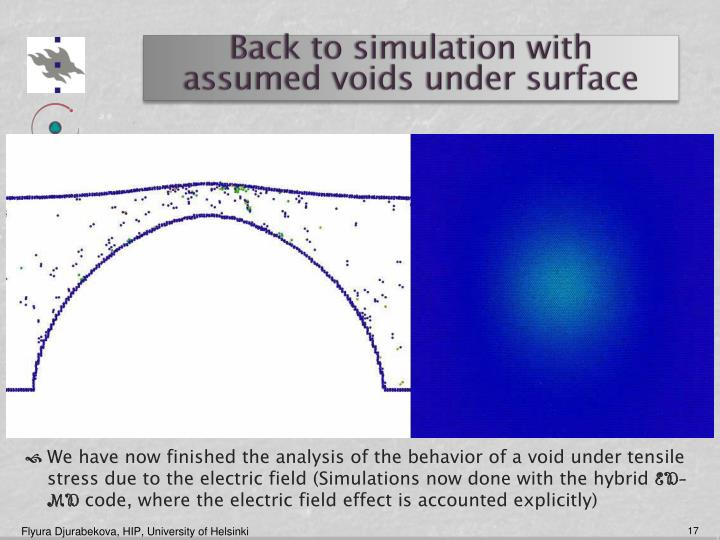 Back to simulation with  assumed voids under surface
