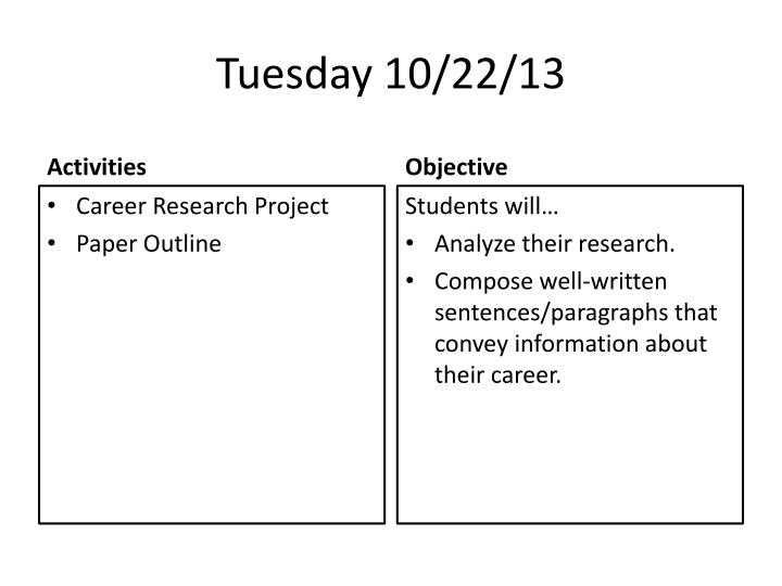 Tuesday 10/22/13