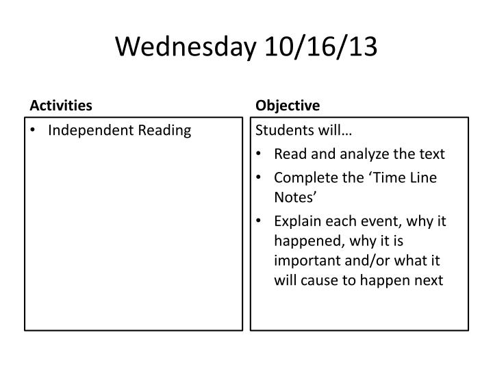 Wednesday 10/16/13
