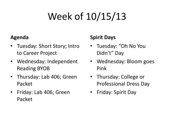Week of 10/15/13