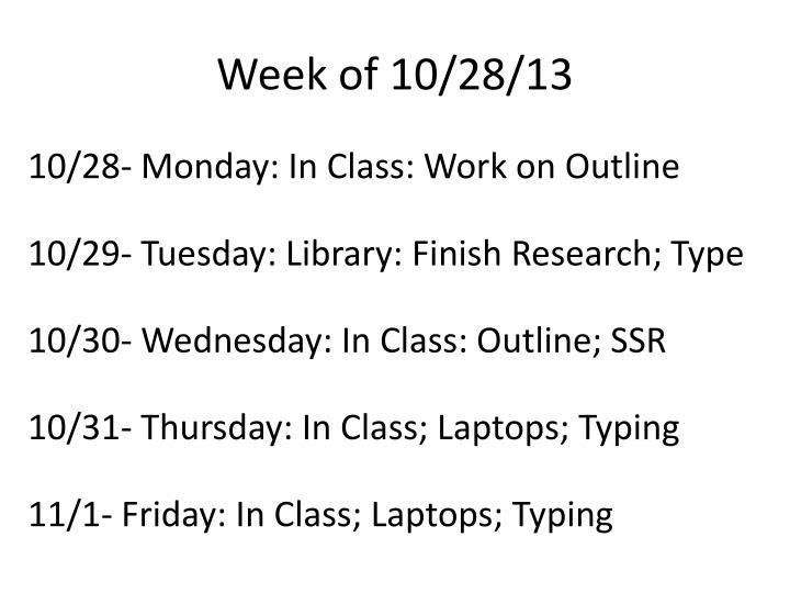 Week of 10/28/13