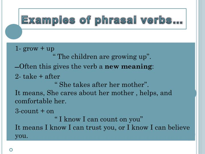 Examples of phrasal verbs…