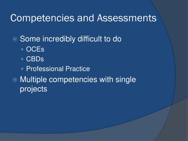 Competencies and Assessments