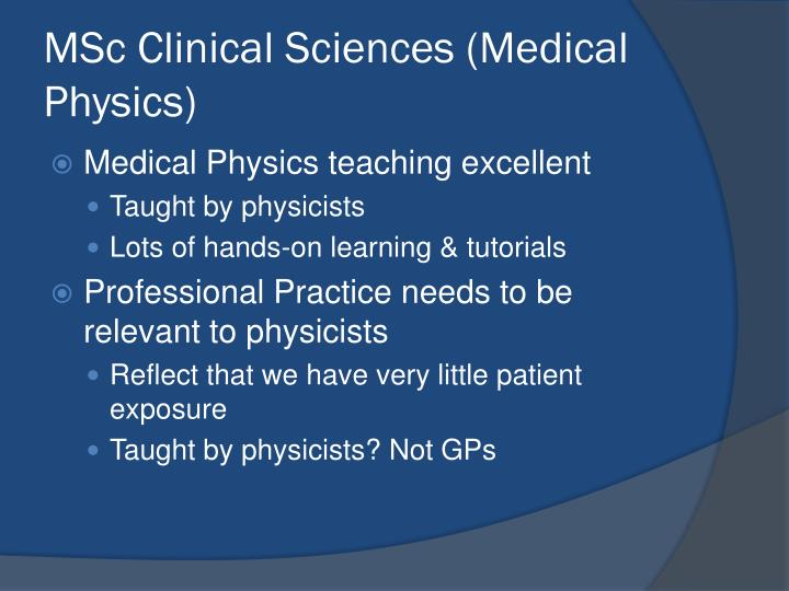 MSc Clinical Sciences (Medical Physics)