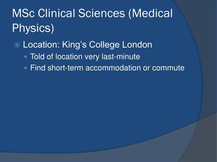 MSc Clinical