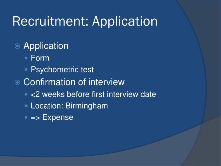 Recruitment: Application