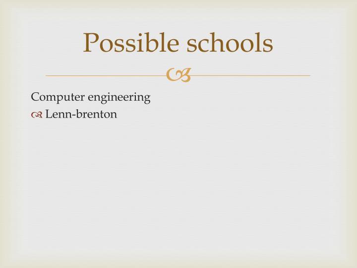 Possible schools