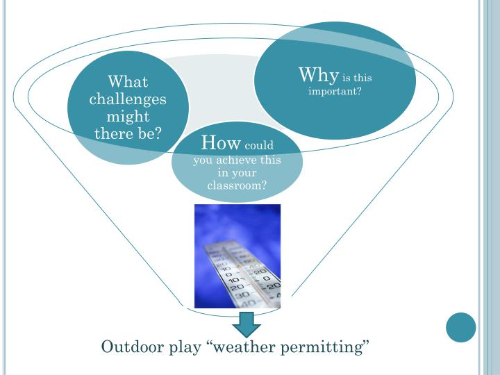 "Outdoor play ""weather permitting"""