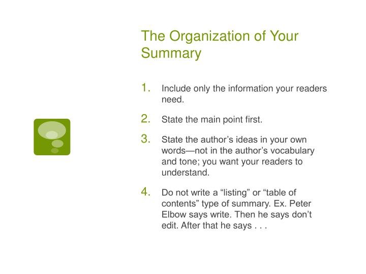 The Organization of Your Summary