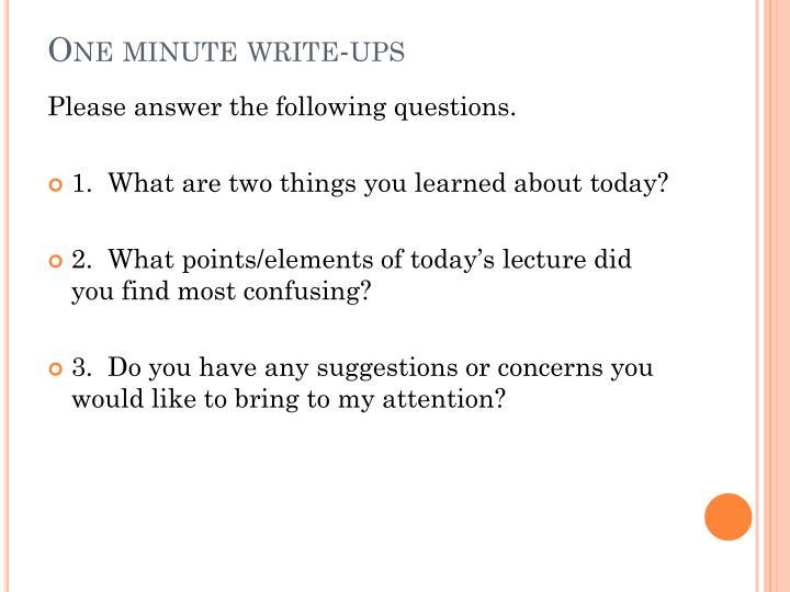 One minute write-ups