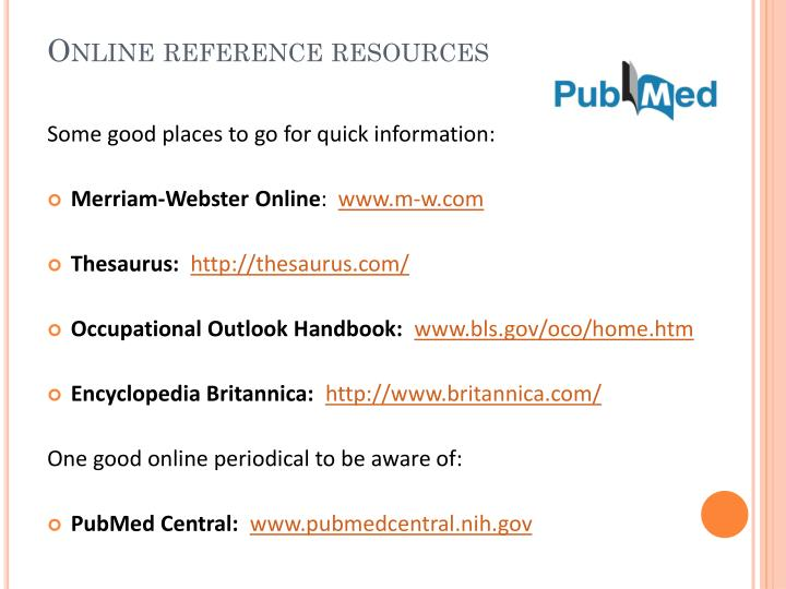 Online reference resources