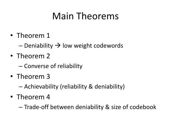 Main Theorems