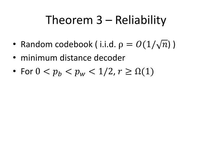 Theorem 3 – Reliability