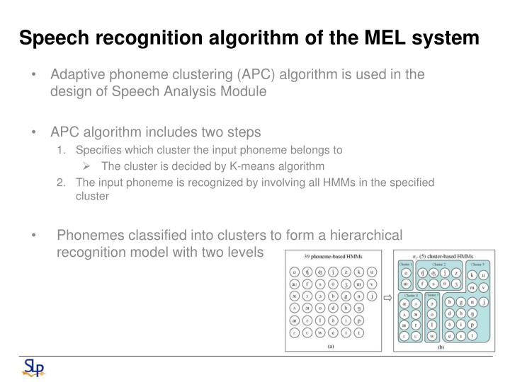Speech recognition algorithm of the
