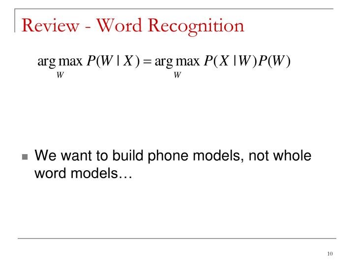Review - Word Recognition