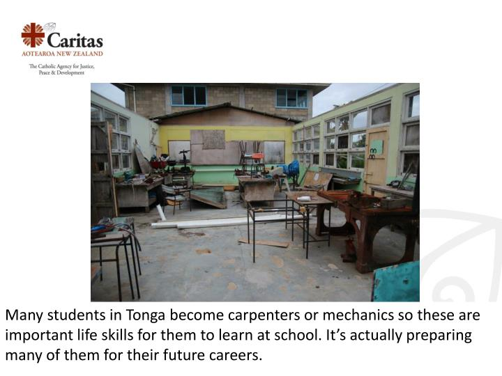 Many students in Tonga become carpenters or mechanics so