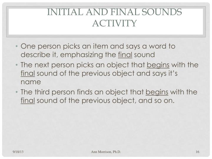 Initial and Final Sounds Activity