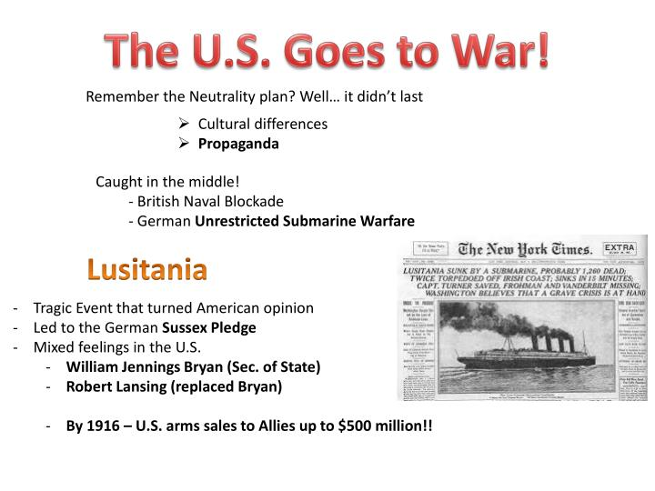 The U.S. Goes to War!