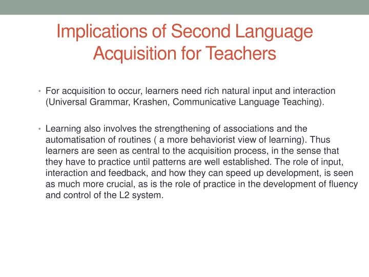 Implications of Second Language Acquisition for Teachers
