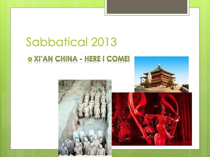 Sabbatical 2013