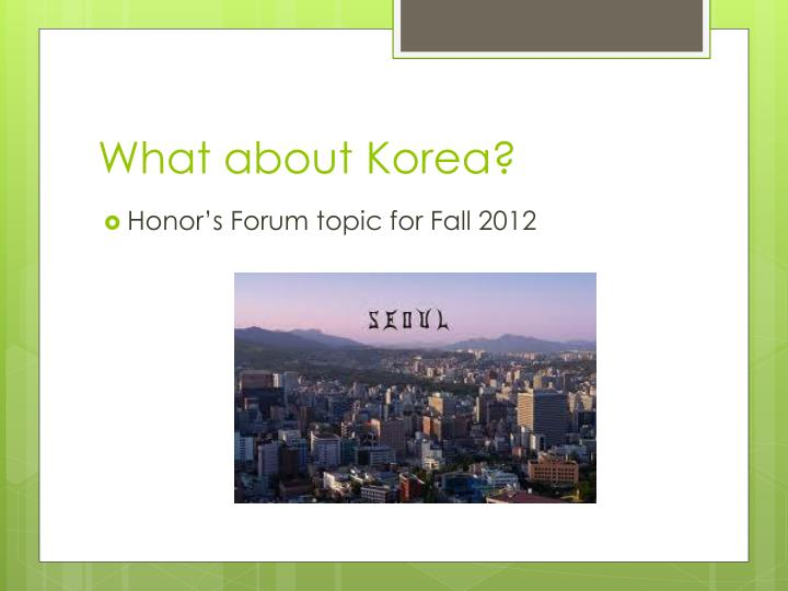 What about Korea?
