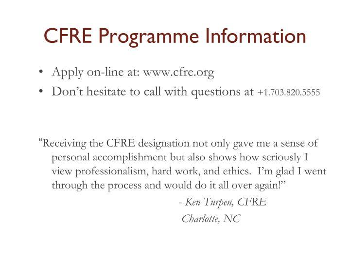 CFRE Programme Information
