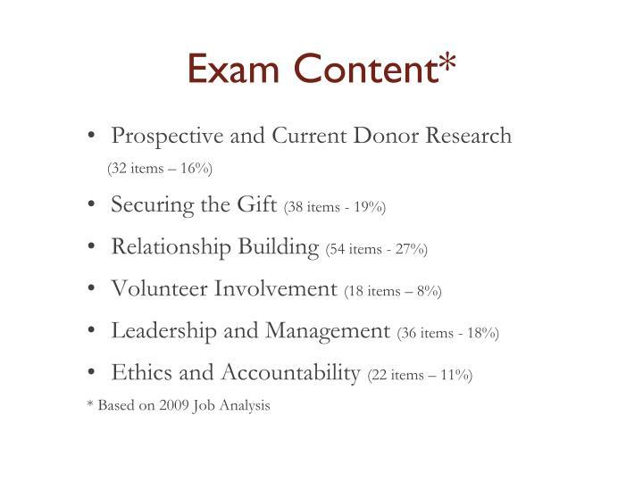 Exam Content*