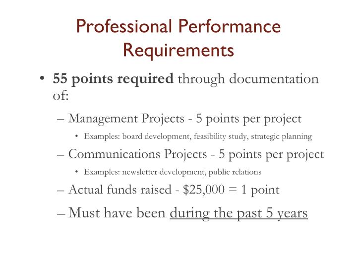 Professional Performance Requirements