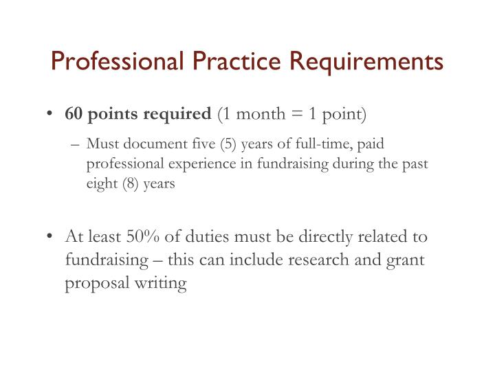 Professional Practice Requirements