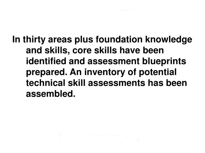 In thirty areas plus foundation knowledge and skills, core skills have been identified and assessment blueprints prepared. An inventory of potential technical skill assessments has been assembled.